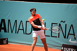 May 6, 2019 - Madrid, Spain - Nikoloz Basilashvili ( GEO)  in his match against Frances  Tiafoe (USA) during day three of the Mutua Madrid Open at La Caja Magica in Madrid on 6th May, 2019. (Credit Image: © Juan Carlos Lucas/NurPhoto via ZUMA Press)