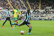 Newcastle United midfielder Georginio Wijnaldum  scores for Newcastle United  during the Barclays Premier League match between Newcastle United and Norwich City at St. James's Park, Newcastle, England on 18 October 2015. Photo by Simon Davies.