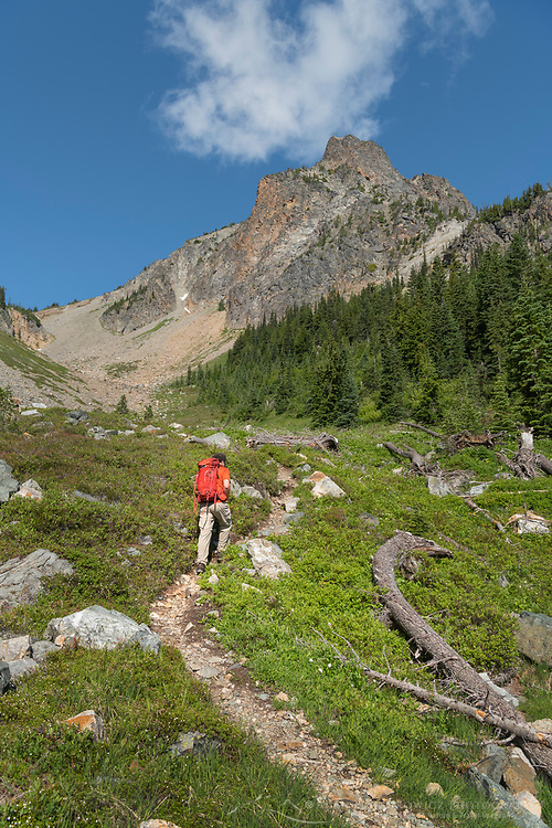 Adult male hiker with red backpack on Easy Pass Trail, North Cascades Washington