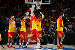 10.09.2014, Palacio de los deportes, Madrid, ESP, FIBA WM, Frankreich vs Spanien, Viertelfinale, im Bild Spain´s players // during FIBA Basketball World Cup Spain 2014 Quarter-Final match between France and Spain at the Palacio de los deportes in Madrid, Spain on 2014/09/10. EXPA Pictures © 2014, PhotoCredit: EXPA/ Alterphotos/ Victor Blanco<br /> <br /> *****ATTENTION - OUT of ESP, SUI*****