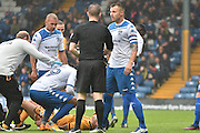Bury Midfielder, Antony Kay (6) chats to the referee during the EFL Sky Bet League 1 match between Bury and Port Vale at the JD Stadium, Bury, England on 3 September 2016. Photo by Mark Pollitt.