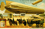 A German airship designed by Count von Zeppelin and, at the top right corner, the much smaller French airship 'Parseval'.  Liebig trade card c1900.
