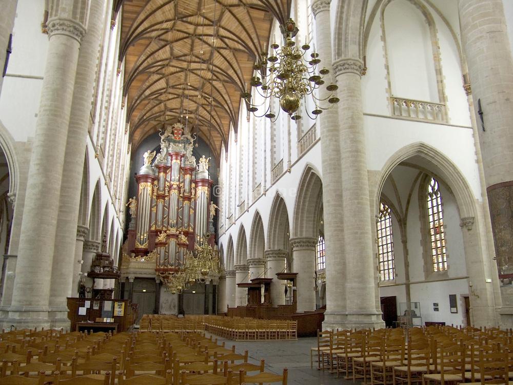 interior of Saint Bavo church in Haarlem Holland