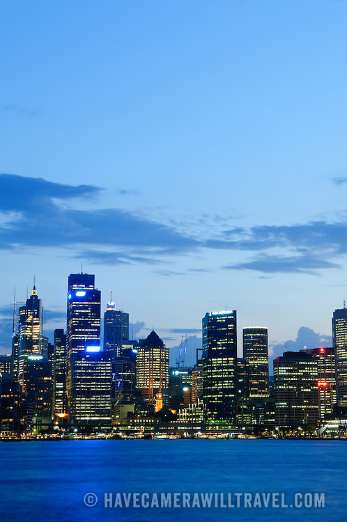 Sydney city skyline at dusk with copyspace