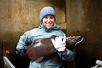 A young woman holds a large Chinook Salmon at the Oregon Hatchery Research Center on Fall Creek, OR.