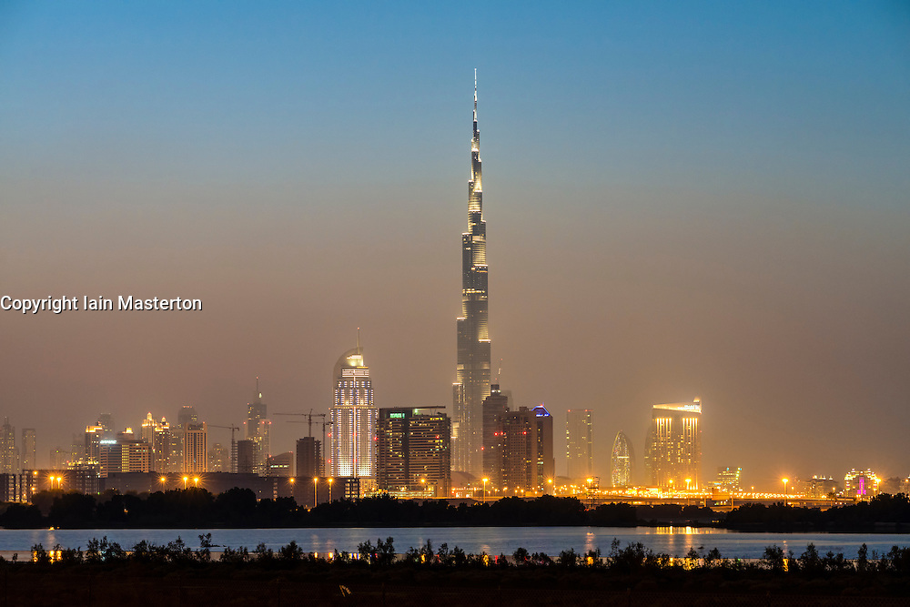Evening view of Burj Khalifa and skyline of Dubai in United Arab Emirates