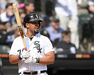 CHICAGO - APRIL 06:  Jose Abreu #79 of the Chicago White Sox looks on against the Seattle Mariners on April 6, 2019 at Guaranteed Rate Field in Chicago, Illinois.  (Photo by Ron Vesely)  Subject:  Jose Abreu