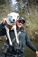 Fly fishing for winter steelhead on the Clackamas River in northern Oregon.