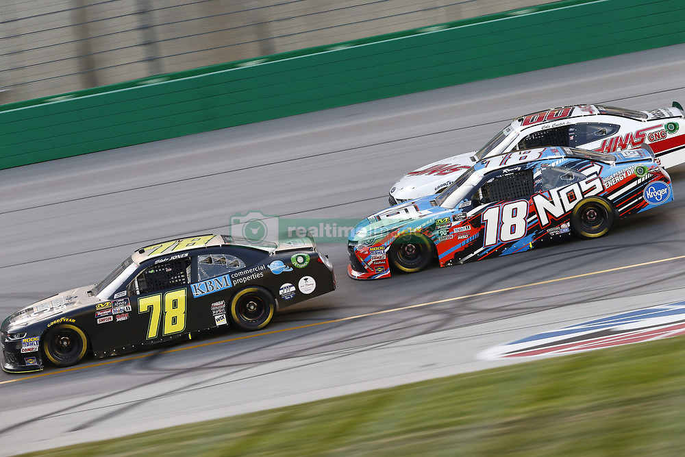 July 13, 2018 - Sparta, Kentucky, United States of America - Tommy Joe Martins (78) Kyle Busch (18) and Cole Custer (00) battle for position during the Alsco 300 at Kentucky Speedway in Sparta, Kentucky. (Credit Image: © Chris Owens Asp Inc/ASP via ZUMA Wire)