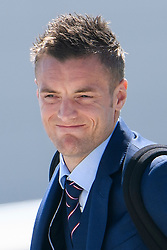 © Licensed to London News Pictures. 06/06/2016. Luton, UK. England striker JAMIE VARDY joins other members of England national football squad as they board a plane at Luton airport in Bedfordshire, England, to head for their training camp in France, ahead of the start of the UEFA Euro 2016 championships.  Photo credit: Ben Cawthra/LNP