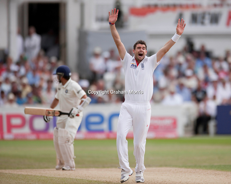 Sachin Tendulkar out lbw to James Anderson during the second npower Test Match between England and India at Trent Bridge, Nottingham.  Photo: Graham Morris (Tel: +44(0)20 8969 4192 Email: sales@cricketpix.com) 01/08/11