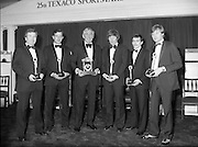 Texaco Sportstars Of The Year Awards.1983..14.04.1983..04.14.1983..14th April 1983...Pictured at the awards ceremony were the award winners..For excellence in sport in 1982.(L-R),.Noel Skehan,Hurling. Martin Furlong,Football..Ronnie Delaney,Athletics,Hall of Fame,Ollie Campbell,Rugby,Barry McGuigan, Boxing and Alex Higgins,Snooker..The award ceremony was held in The Burlington Hotel,Dublin...