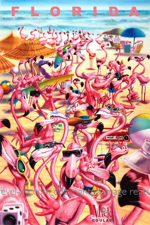 Flamingos on the Beach: Find the Fun in the Sun for your Flock in Florida. Poster prints available.