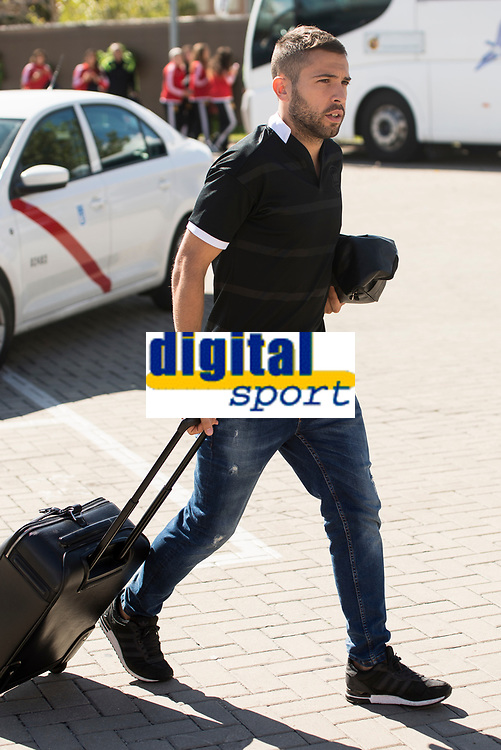 Arrival of the players of the Spanish football team squad for the Qualifying to European Championship in France at the Ciudad del Futbol of Las Rozas, Madrid. October 06, 2015<br /> In the image defender of FC Barcelona, Jordi Alba.<br /> (ALTERPHOTOS/BorjaB.Hojas)