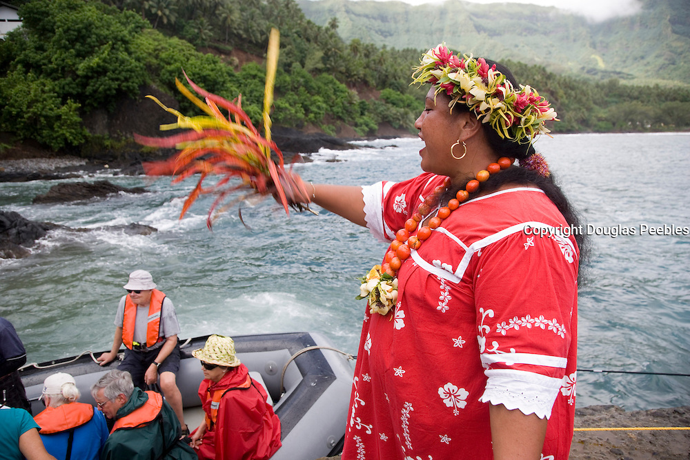 Welcome, Puamau, Hiva Oa, Marquesas Islands, French Polynesia, (Editorial use only)<br />