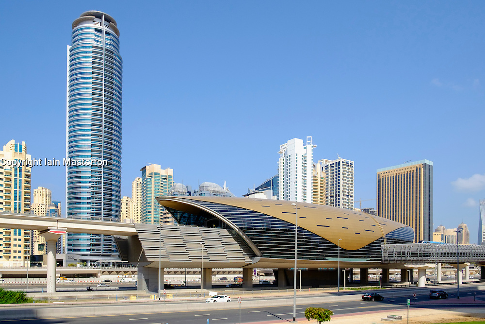 Modern elevated railway station for Dubai Metro system in United Arab Emirates