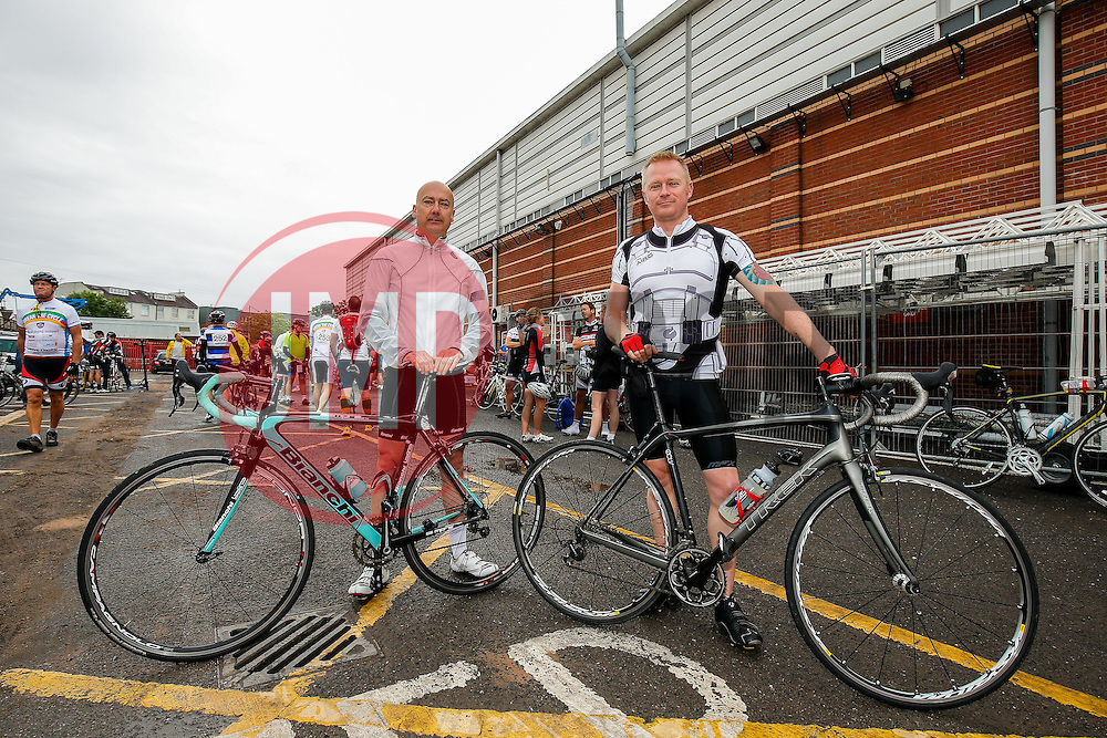 Cyclists (273, 272) take part in Break the Cycle, a 110 mile charity bike ride organised by the Bristol, Bath and Gloucester Rugby Community Foundations, visiting their respective stadia, Ashton Gate, The Recreation Ground and Kingsholm Stadium - Photo mandatory by-line: Rogan Thomson/JMP - 07966 386802 - 14/06/2015 - SPORT - Cycling - Bristol, England - Ashton Gate Stadium.
