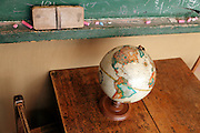 old world sphere with blackboard and chalk eraser