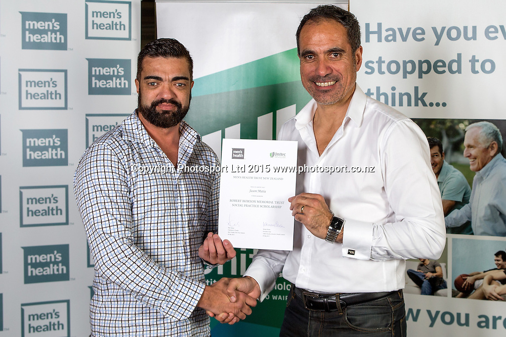 Jason Matia, left, and Phil Clemas at the Men`s Health Trust, 2015 Award Ceremony, Unitec, Auckland, New Zealand, Tuesday, May 26, 2015. Copyright photo: David Rowland / www.photosport.co.nz