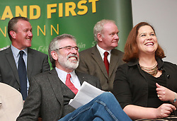 Sinn Fein's President Gerry Adams laughs during a European Election Rally in South Belfast, Northern Ireland,Monday May 5, 2014. The Sinn Fein president was questioned for four days in connection with the murder of Jean McConville and membership of the IRA,  Monday, 5th May 2014. Picture by  i-Images