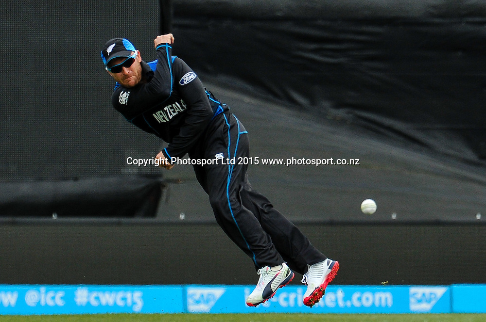 Brendon McCullum of the Black Caps fielding during the ICC Cricket World Cup match between New Zealand and Sri Lanka at Hagley Oval in Christchurch, New Zealand. Saturday 14 February 2015. Copyright Photo: John Davidson / www.Photosport.co.nz