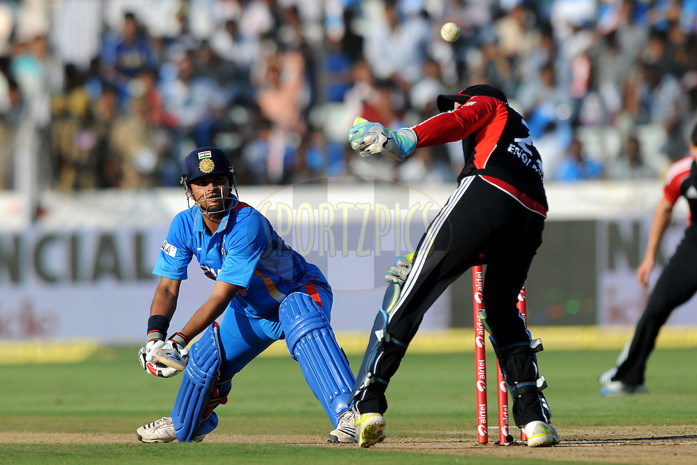 Suresh Raina of India bats during the first One Day International ( ODI ) match between India and England held at the Rajiv Gandhi International Stadium, Hyderabad on the 14th October 2011..Photo by Pal Pillai/BCCI/SPORTZPICS