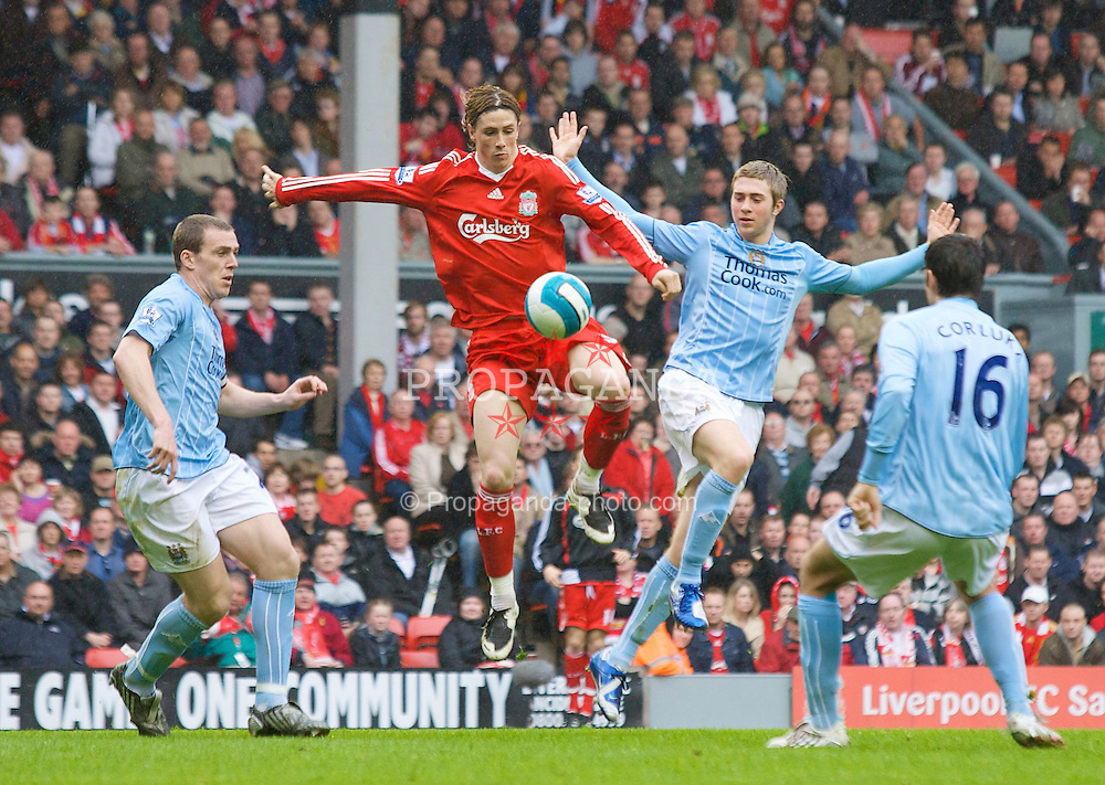 LIVERPOOL, ENGLAND - Sunday, May 4, 2008: Liverpool's Fernando Torres in action against Manchester City during the Premiership match at Anfield. (Photo by David Rawcliffe/Propaganda)