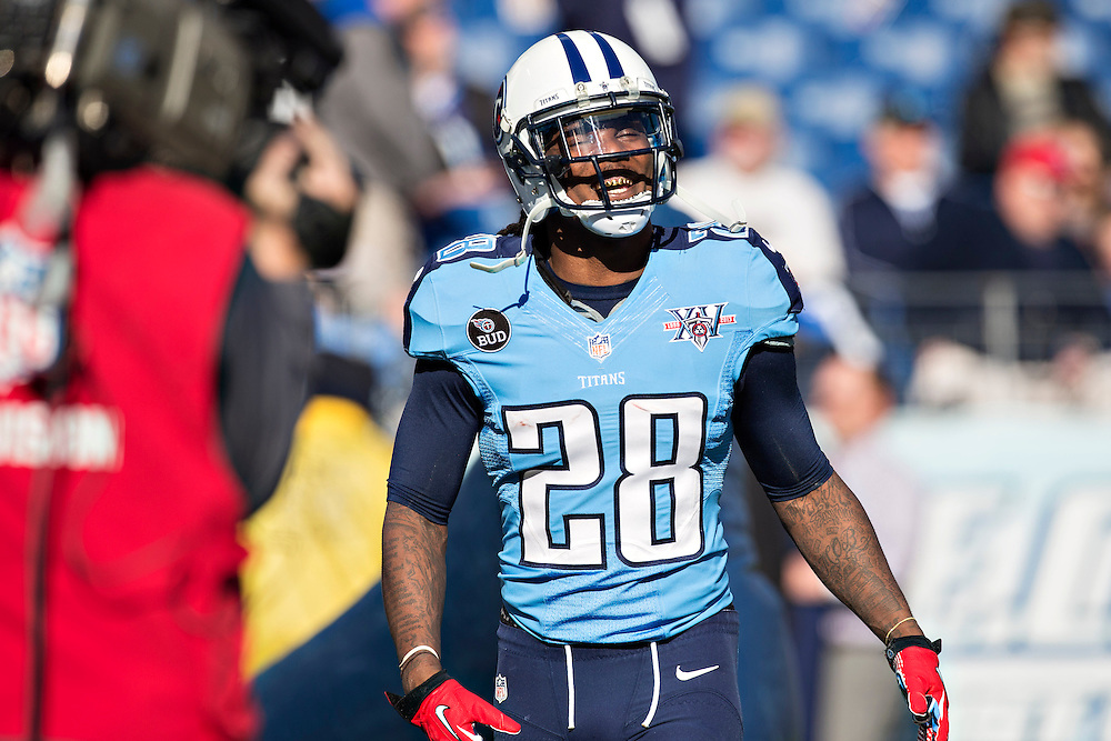 NASHVILLE, TN - DECEMBER 29:  Chris Johnson #28 of the Tennessee Titans warms up before a game against the Houston Texans at LP Field on December 29, 2013 in Nashville, Tennessee.  The Titans defeated the Texans 16-10.  (Photo by Wesley Hitt/Getty Images) *** Local Caption *** Chris Johnson