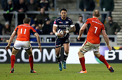 Denny Solomona of Sale Sharks runs with the ball - Mandatory by-line: Robbie Stephenson/JMP - 18/12/2016 - RUGBY - AJ Bell Stadium - Sale, England - Sale Sharks v Saracens - European Champions Cup