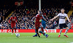 LONDON, ENGLAND - Sunday, March 17, 2019: Liverpool's Sadio Mane is fouled by goalkeeper Sergio Rico during the FA Premier League match between Fulham FC and Liverpool FC at Craven Cottage. (Pic by David Rawcliffe/Propaganda)