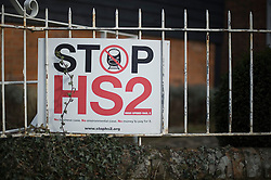 © Licensed to London News Pictures. 27/01/2012. Little Missenden, UK. An anti HS2 (High Speed Rail 2) sign near the village of Little Missenden, Buckinghamshire. Scheduled to be completed by 2033, the new Rail system will have huge effects on the English town. Photo credit : Ben Cawthra/LNP