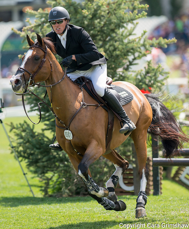 CHRISTIAN SORENSEN (CAN) rides WRIOMF in the 1.50m Derby Nexen Cup during National CSI 5* at Spruce Meadows presented by Rolex, June 7 2015. Calgary.