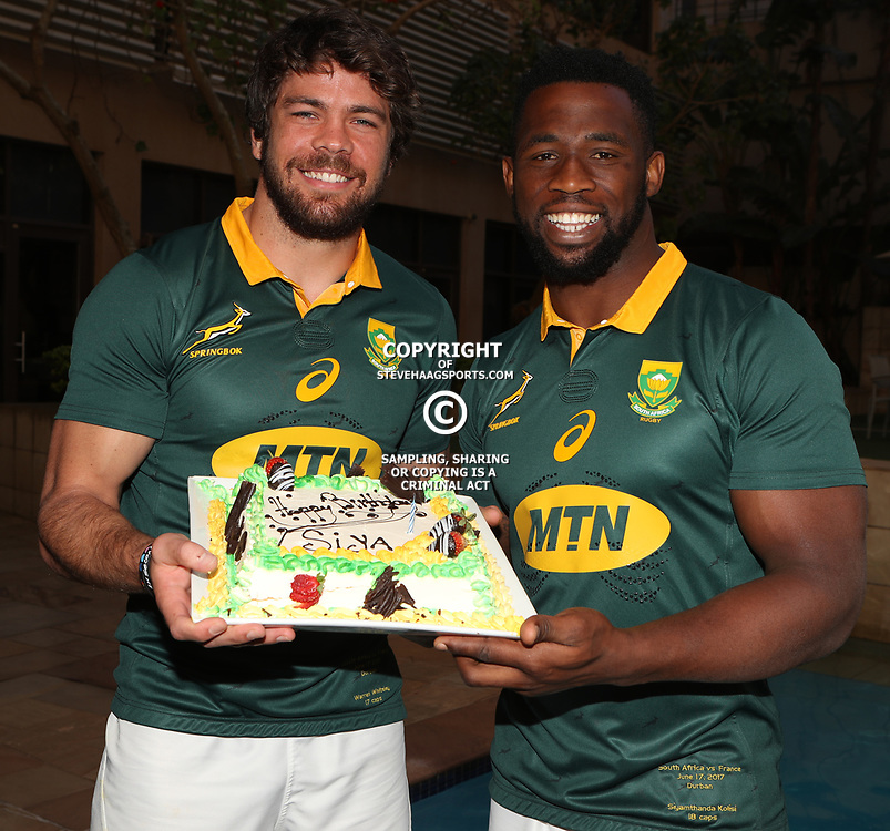 DURBAN, SOUTH AFRICA - JUNE 16: Warren Whiteley (captain) with Siya Kolisi during the South African national mens rugby team Captains press conference and team photograph at Garden Court Umhlanga on June 16, 2017 in Durban, South Africa. (Photo by Steve Haag/Gallo Images)