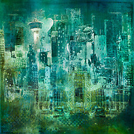 Painterly sketch of a cityscape with a bridge, cars and TV tower in largely black and white tones on a vibrant teal background with grunge elements
