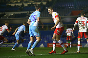 Michael Smith of Rotherham United (24) marks Dominic Hyam of Coventry City (15) tightly during the EFL Sky Bet League 1 match between Coventry City and Rotherham United at the Trillion Trophy Stadium, Birmingham, England on 25 February 2020.