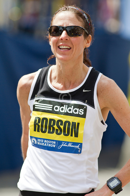 2013 Boston Marathon: Denise Robson, 44, Canada, smiles after race