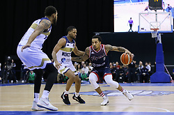 Gentry Thomas of Bristol Flyers drives at the Worcester Wolves defence - Photo mandatory by-line: Arron Gent/JMP - 26/01/2020 - BASKETBALL - Arena Birmingham - Birmingham, England - Bristol Flyers v Worcester Wolves - British Basketball League Cup Final
