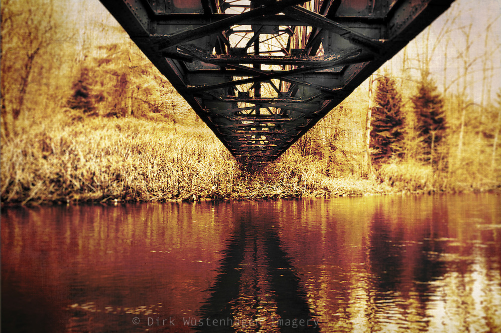 Abandoned railway bridge near Müngsten, Germany. Monochrome & textured photography