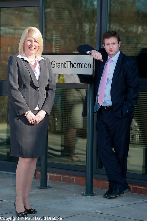 Emma Davies of Grant Thornton recently appointed Director with Paul Houghton Grant Thornton Partner..http://www.pauldaviddrabble.co.uk.26 March 2012 .Image © Paul David Drabble
