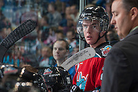 KELOWNA, CANADA - SEPTEMBER 21:  Joe Gatenby #28 of the Kelowna Rockets stands on the bench opposite the Kamloops Blazers at the Kelowna Rockets on September 21, 2013 at Prospera Place in Kelowna, British Columbia, Canada (Photo by Marissa Baecker/Shoot the Breeze) *** Local Caption ***