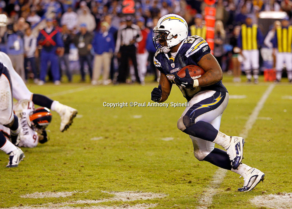 San Diego Chargers fullback Mike Tolbert (35) runs the ball during the NFL week 11 football game against the Denver Broncos on Monday, November 22, 2010 in San Diego, California. The Chargers won the game 35-14. (©Paul Anthony Spinelli)