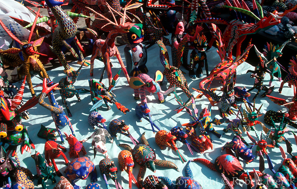 MEXICO, OAXACA, MARKET albrijes or animalitos toy animals