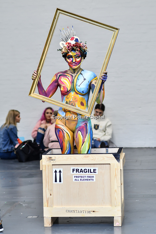 Branka Vorkapic create Van Gogh Living Arts  with model Andie Cizkova demo at IMATS on 18 May 2019,  London, UK.