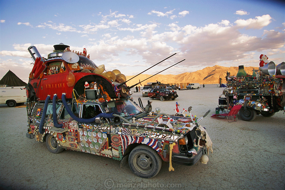 An art car at Burning Man, an event dedicated toward creating an atmosphere of community, self-expression, and celebration held yearly on Nevada's Black Rock Desert. Burning Man is a performance art festival known for art, drugs and sex. It takes place annually in the Black Rock Desert near Gerlach, Nevada, USA.