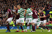 Both sets of players jostle for position during the William Hill Scottish Cup Final match between Heart of Midlothian and Celtic at Hampden Park, Glasgow, United Kingdom on 25 May 2019.