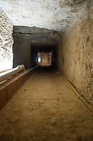 Shaft straightens out into a corridor/tunnel leading to the Cistern Chamber under the Great Pyramid, Giza, Egypt.