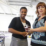 Tershonda Branch accepts an award from Star News Editor Sherry Jones for the 15 Under 15 project Sunday September 14, 2014 at Jungle Rapids in Wilmington, N.C. (Jason A. Frizzelle)