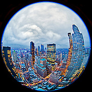 Manhattan - Fisheye Images - view from the London (151 West 54th Street) tween 6/7th Avenues