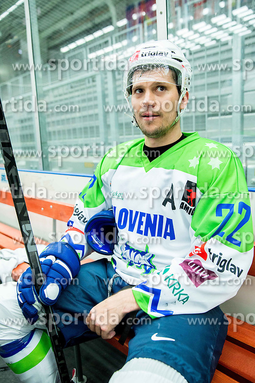 Marcel Rodman of Slovenia during ice-hockey friendly match between National teams of Slovenia and Japan, on April 10, 2015 in Arena Podmezakla, Jesenice, Slovenia. Photo by Vid Ponikvar / Sportida