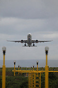 Aircraft taking off from Manchester Airport, Manchester, United Kingdom on 14 March 2020.